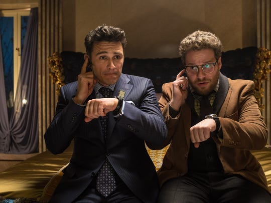 """James Franco, left, and Seth Rogen in """"The Interview."""" Sony Pictures canceled all release plans for the film at the heart of the hacking scandal that exposed tens of thousands of sensitive documents and escalated to threats of terrorist attacks."""