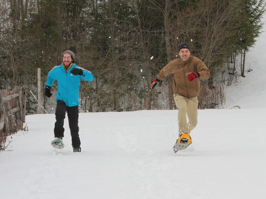 Avi Edelson of Brooklyn and his friend Edi Juricic of Queens kick it up on snow walk at Fahnestock Winter Park in Carmel last winter. Fahnestock has groomed, marked trails and rental equipment.