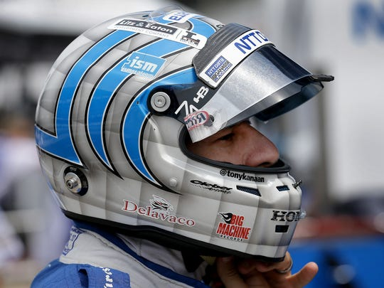 Chip Ganassi Racing IndyCar driver Tony Kanaan (10) prepares himself for practice for the Indianapolis 500 Wednesday, May 17, 2017, afternoon at the Indianapolis Motor Speedway.
