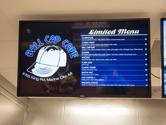 The menu at the Ball Park Cafe. The restaurant, located