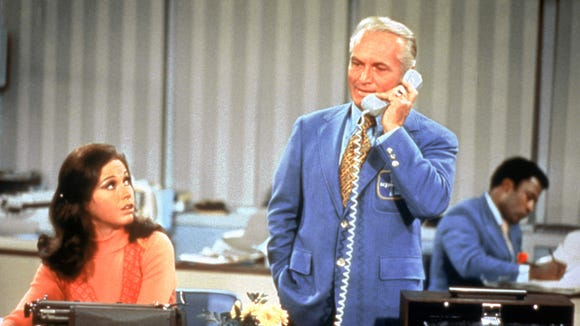 "Mary Richards (Mary Tyler Moore), left, and Ted Baxter (Ted Knight) were TV station colleagues on ""The Mary Tyler Moore Show."""