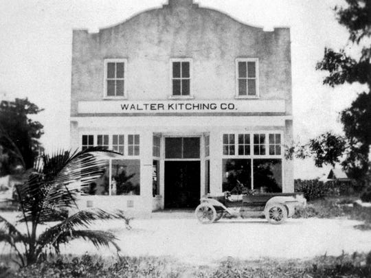 A newer Walter Kitching Company store was built in February 1914, a two-story frame and stucco structure located on the corner of West First Street and Avenue E (U.S. 1).