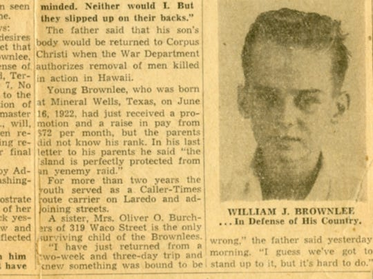 WIlliam J. Brownlee was killed at Hickam Field on Dec. 7, 1941. This clipping from the Dec. 11, 1941 Corpus Christi Caller announced his death.