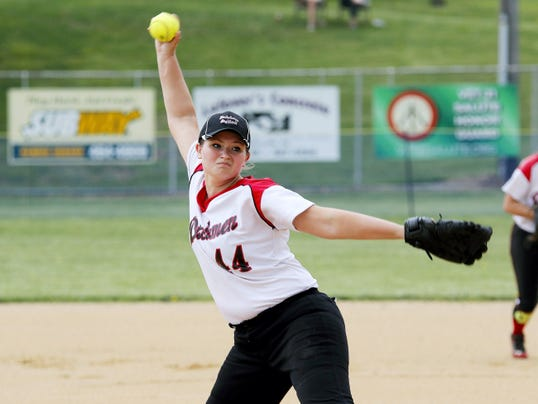Annville-Cleona's Emma Lerchen pitched at Garrett Field in Lampeter Strasburg on Saturday, May 9, 2015.