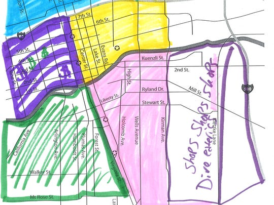 A member of the Reno community attempts to draw the Reno districts without knowing the official boundaries.