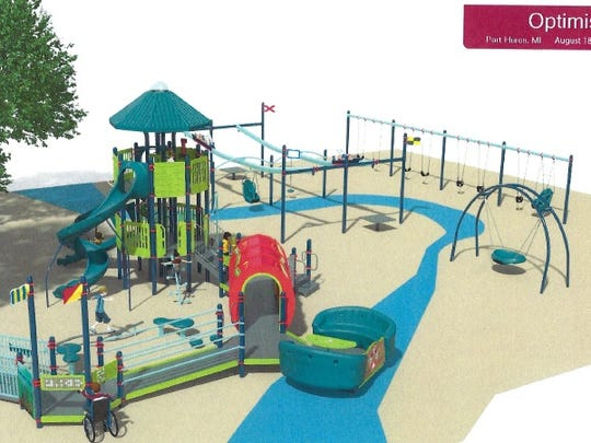 A grant-funded playground, as pictured in a design, will be built at Optimist Park on Saturday, Aug. 18, by volunteers.