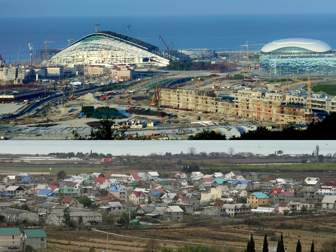 Combination photo shows Sochi, Russia in February 2007, bottom, prior to construction of Olympic venues, and the new Olympic Park venue in August, top, for the 2014 Winter Games. For decades, Sochi was a seaside resort perfect for a Soviet-style summer holiday but little known outside of Russia. The area has undergone a makeover in the last six years to make it a world-class winter sports hub capable of hosting the Olympics in 100 days.