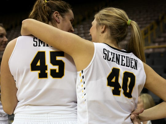 Iowa center Nicole Smith (45) and Hailey Schneden (40) relax during Iowa women's basketball media day on Thursday, October 29, 2015 in Carver-Hawkeye Arena. (Rachel Jessen/For the Press-Citizen)