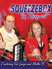 """Leaders of the Squeezebox band as seen nationally on RFD-TV are Mollie """"B"""" Busta and Ted Lange."""