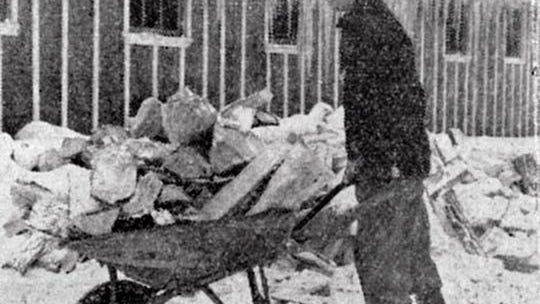 Sol Gadol, New York, hauls fuel wood into one of the buildings at the camp. Wood cutting was one of the important jobs at the camp.