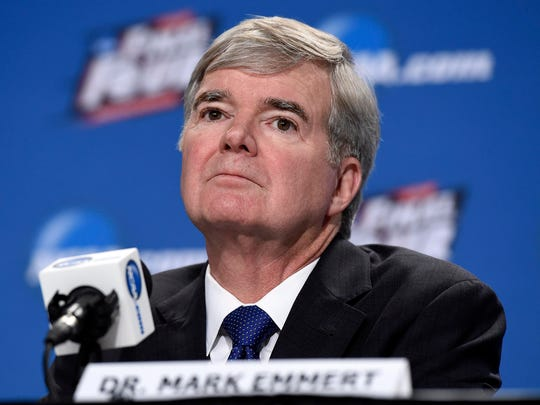 NCAA president Mark Emmert speaks to the media during a press conference at Lucas Oil Stadium on April 2, 2015.