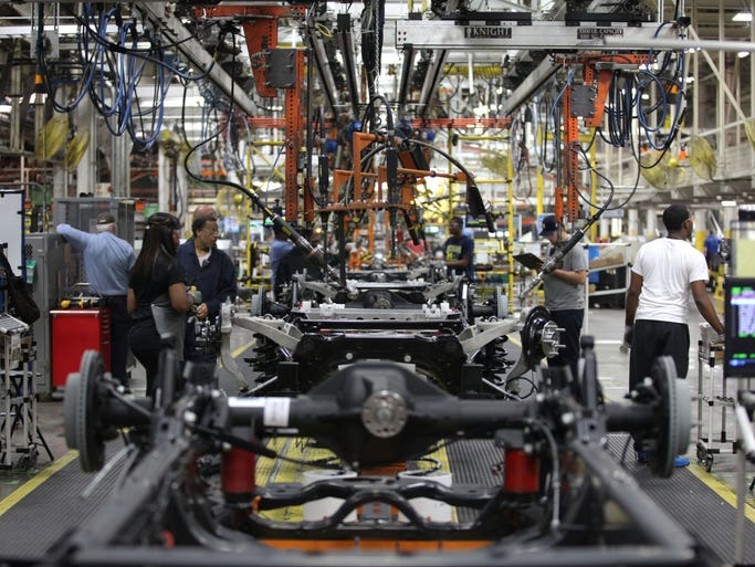 Chassis move down the assembly line at the media open house on Thursday, Sept. 25, 2014 at the Chrysler Group Warren Truck Assembly plant in Warren.