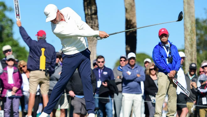 Defending champion Keith Mitchell, hitting his tee shot on the 18th hole during the second round of the Honda Classic at PGA National in Palm Beach Gardens, had rounds of 75-72 for a 7-over 147.