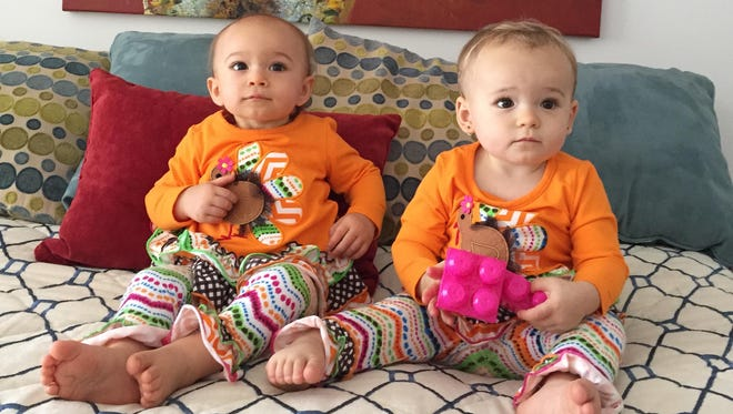 Isabella, right, with her cousin Vanessa on Thanksgiving. The girls wore matching outfits.