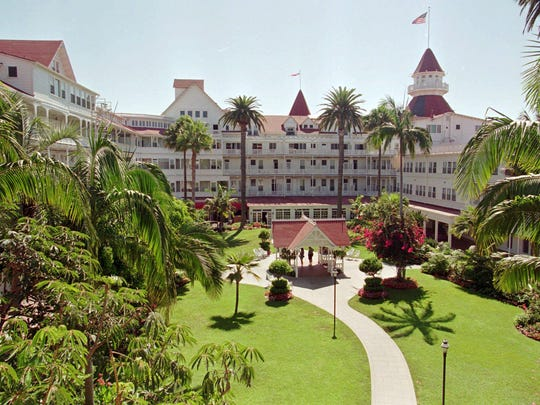 The Hotel del Coronado in Coronado, California, was built in 1888. The red-roofed hotel is the last of California's Victorian seaside resorts. It looks out onto 1.5 miles of pristine coast with a beach that sparkles with the mineral mica.
