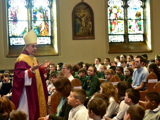 Bishop Ronald Gainer, of the Roman Catholic Diocese of Harrisburg, visits Corpus Christi Catholic Church, Chambersburg, for mass, Tuesday, March 1, 2016. The Bishop visited later with students and faculty at the Corpus Christi School.