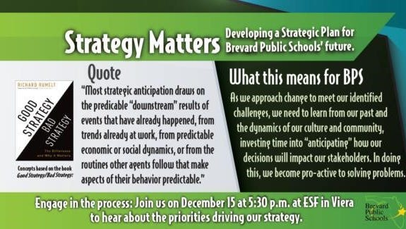 Brevard Public Schools will host a community event to discuss its upcoming strategic plan.