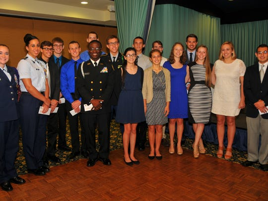 The Military Officers Association of America Cape Canaveral Chapter honored 17 local students Tuesday at a luncheon at Indian River Colony Club.