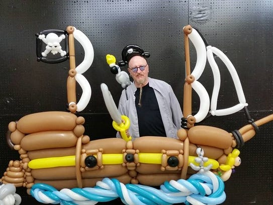 Sam Cremeens created this giant pirate ship from balloons.