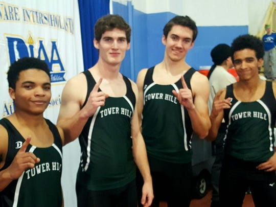 Tower Hill's Kai Glover, Johnathan Sobieski, Kyle Bosse and Malcolm Johnson broke the boys' 4x200 record with a time of 1:35.85.