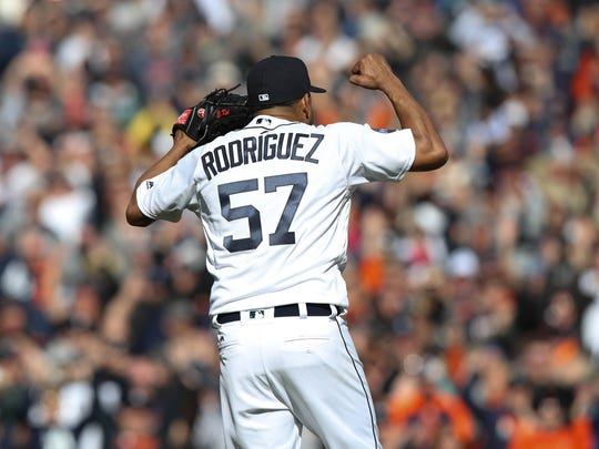 Tigers closer Francisco Rodriguez reacts after the