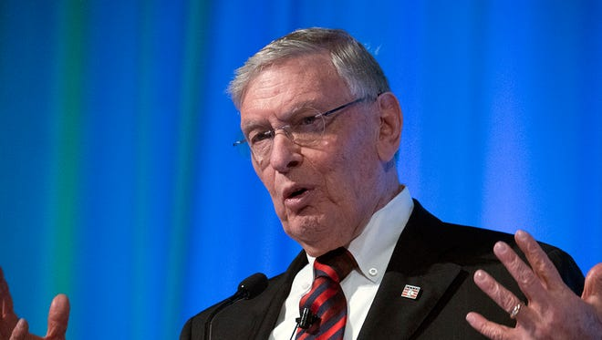 Bud Selig speaks at the fourth annual Dairy Strong conference, hosted by the Dairy Business Association, at the Monona Terrace Community & Convention Center.