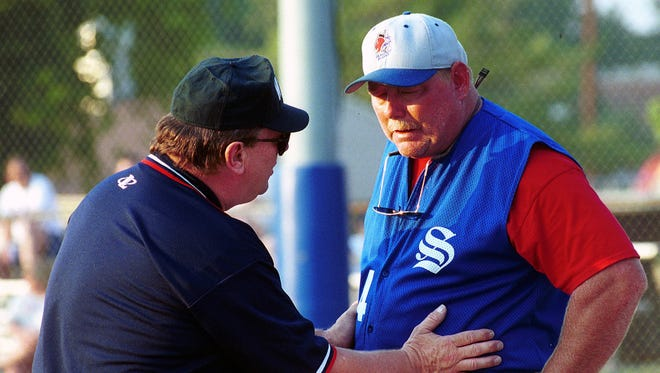Mike Bocock, right, who manager Staunton and Waynesboro, is a member of the Valley Baseball League's inaugural Hall of Fame class.