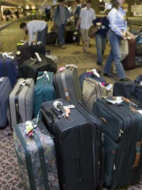 Luggage waits to be claimed at Terminal 4 at Sky Harbor.
