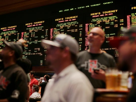 Inside the Mirage hotel-casino Race & Sports Book in Las Vegas.