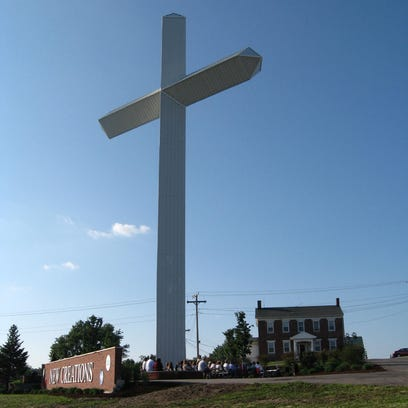A garden plaza has been developed and landscaped around the giant cross on the New Creations property at U.S. 40 and Interstate 70.