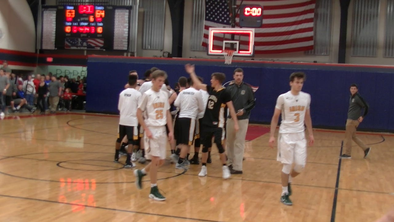 The York Catholic boys' fell to Lancaster Mennonite 64-63 in the District 3 Class 3A semifinals.  Here's a look at the closing seconds -- and winning basket.