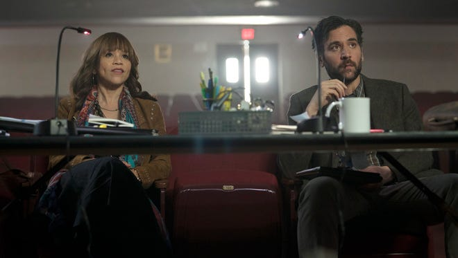 Tracey (Rosie Perez) and Lou (Josh Radnor) are forced to settle their differences as heads of a Pennsylvania high school's theater program in NBC's upcoming musical drama 'Rise.'