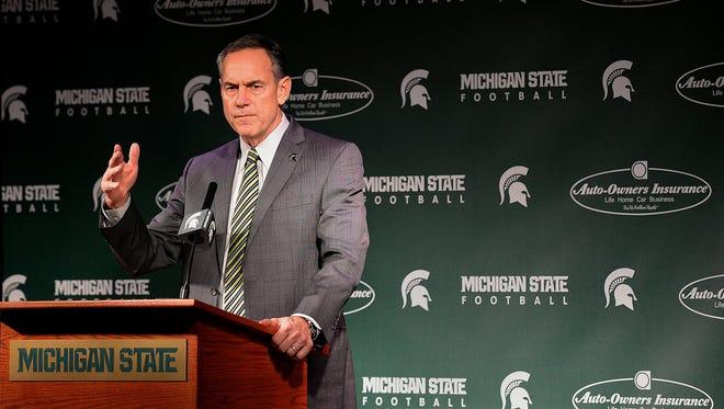 Spartans coach Mark Dantonio speaks about recruits Feb. 3, 2016.