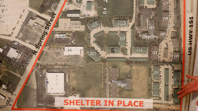 The area outlined in red is where a shelter in place order will be enforced Wednesday, March 14, as members of the FBI, ATF and Beaver Dam Police Department order an apartment building known to have explosive chemicals in it, to be burned.