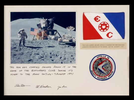 The Explorers Club's flag was carried aboard the Apollo 15 during the first scientific exploration of the moon.