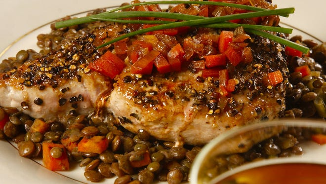 Jack Fry's pepper-seared  tuna on French green lentils with port wine sauce