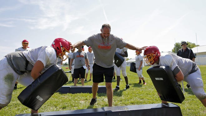 "Worthington Christian football coach Jeff Hartings, shown in practice in 2017, said he doesn't expect to have his team scrimmage. ""I don't want to risk injuries and I want our kids fresh,"" he said."