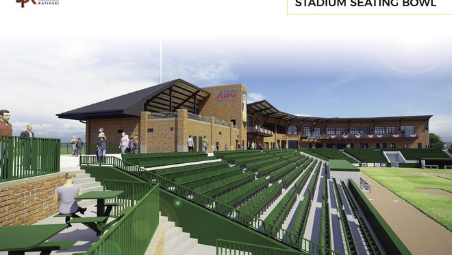 This is an artist's rendering of the inside of a new minor league stadium being built in downtown Beloit. The team, currently known as the Beloit Snappers, is looking to change its name and mascot in anticipation of the stadium opening in 2021.