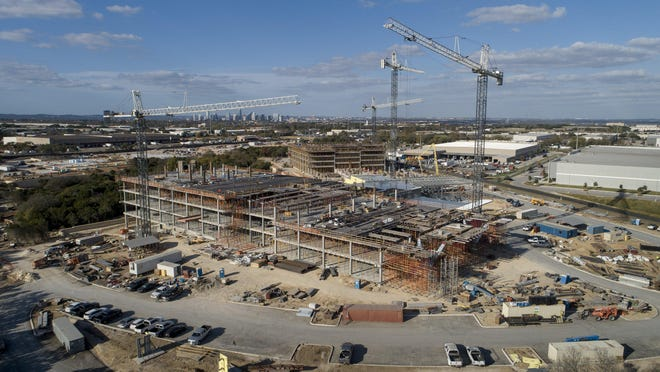 The new headquarters for Texas Department of Transportation is under construction on East Stassney Lane in Austin. The $300 million project will eventually consolidate TxDOT's Austin operations at one site.