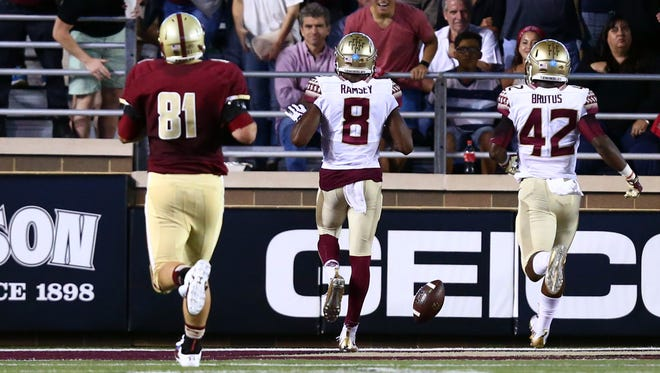 Jalen Ramsey scores after recovering a fumble in FSU's 14-0 win at Boston College