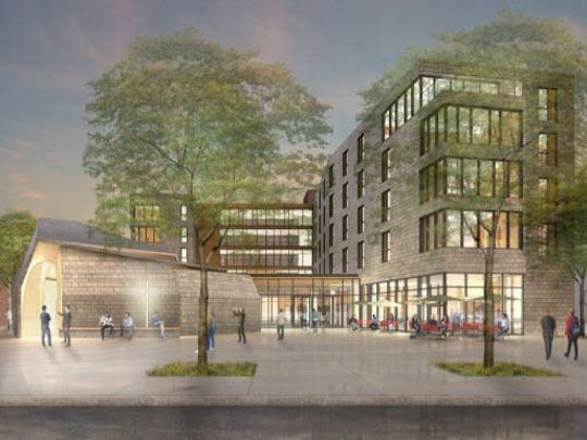Renderings of St.Thomas Aquinas' proposed residence center near Purdue University.