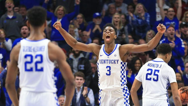 Kentucky's Hamidou Diallo celebrates as the Wildcats extended their lead in the first half of the Wildcats throttling of Louisville 90-61 Dec. 29 in Rupp Arena.