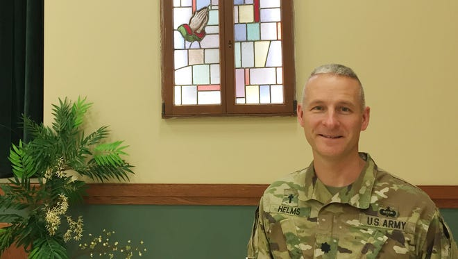 Chaplain Lt. Col. Tom Helms served as the 1st Armored Division chaplain for the past 26 months. He relinquished the position Wednesday and will become the deputy chaplain for the Eighth Army in South Korea.
