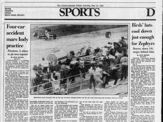 The May 23, 1986 sports page in the Louisville Courier-Journal