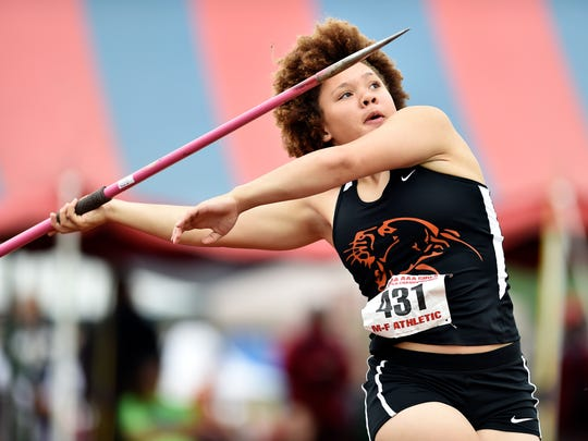 Palmyra's Kirstin West competes in the Class 3A javelin throw preliminary in the PIAA track and field meet Saturday, May 27, 2017, at Shippensburg University.
