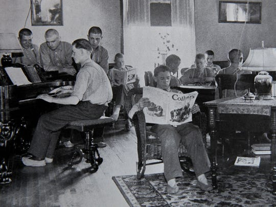 An early 20th century photo of boys spending some free time at the State Agricultural and Industrial School.