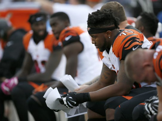 The 2015 first-round pick Cedric Ogbuehi started the