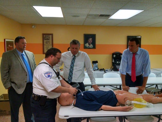 Congressmen Charlie Dent and Ryan Costello visited First Aid and Safety Patrol in Lebanon on Thursday, Aug. 25, 2016. FASP's Tony Deaven demonstrates new air track intubation imaging technology with President Bryan Smith. First Aid and Safety Patrol covers about 85 percent of Lebanon County and has about 110 employees throughout the county. Dent, a Republican, represents the 15th Congressional District. Costello, a Republican, represents, the 6th Congressional District.