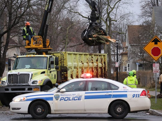 Crews clean up a tree that fell over Frost Avenue as the wind picked up Wednesday morning.