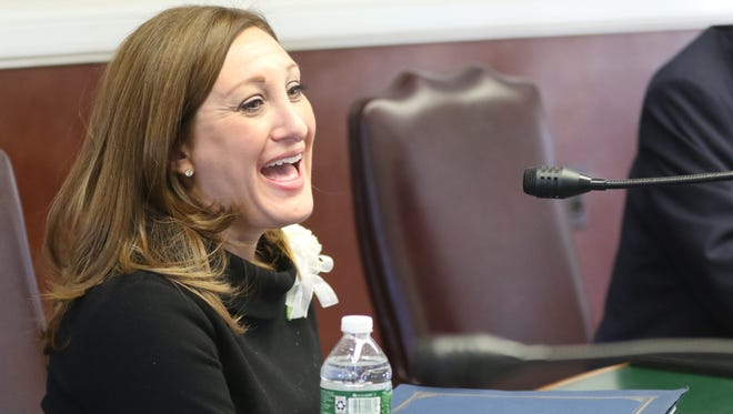 Melissa Rubenstein, the first female Democrat on the Wyckoff Township Committee, at the committee's organization meeting on Monday, January 1, 2018.